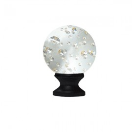 40mm Murano Glass Clear Bubble Ball with 19mm Ripple Black Neck