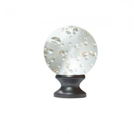 40mm Murano Glass Clear Bubble Ball with 19mm Satin Stainless Neck